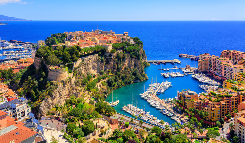 Old town and Prince Palace on the rock in Mediterranean Sea, Monaco, southern France